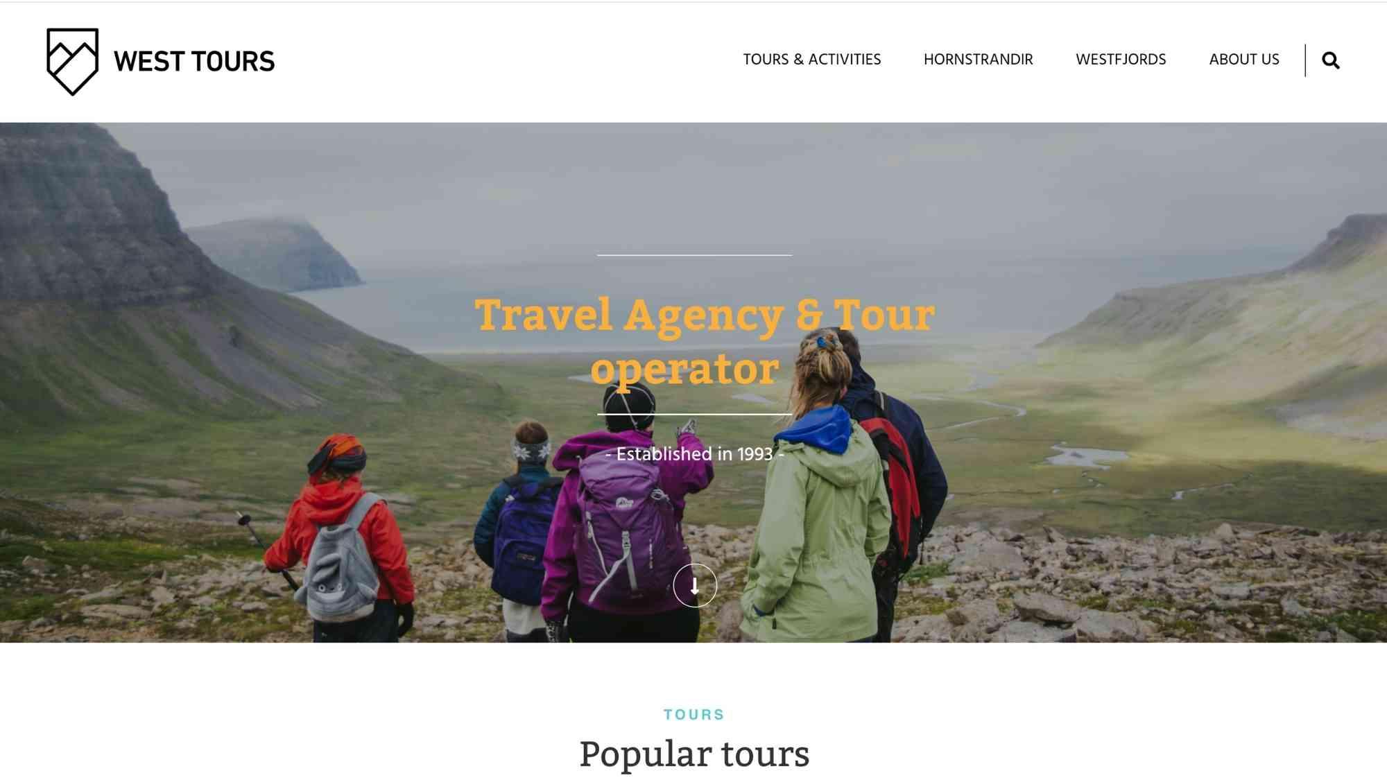 westtours vefsíða screenshot