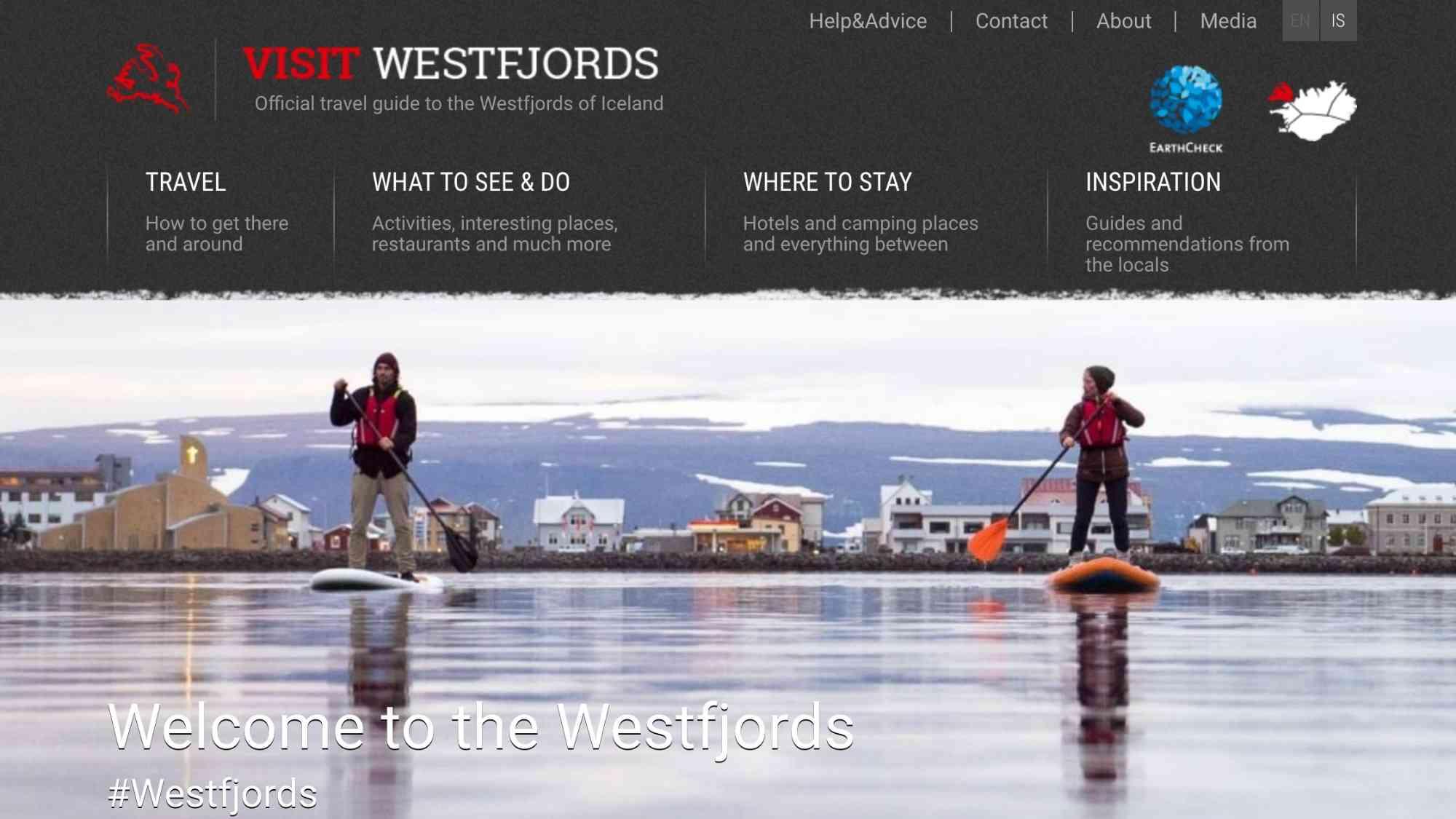 westfjords vefsíða screenshot